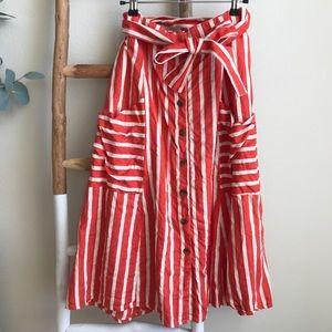 Anthropologie Faithfull Mazur Striped Linen Skirt